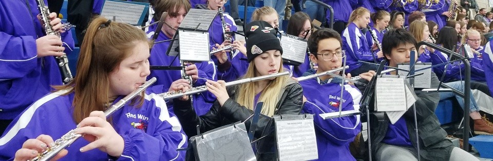 RWHS band playing at game