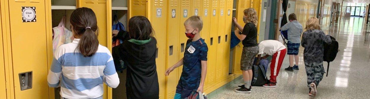 students at locker